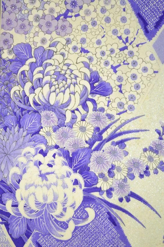 VINTAGE SILK KIMONO FABRIC:Plum Blossom/Chrysanthemum@H31