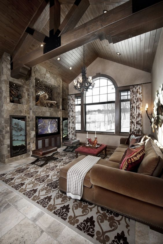 Rustic great room with cathedral ceiling greatrooms for Great home interiors