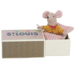 mouse lil sis in box - by maileg