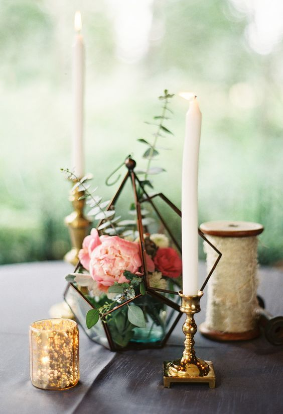 12 Chic Centerpiece With A Dark Metal Terrarium Filled With Eucalyptus And Peonies And Cand Terrarium Wedding Terrarium Centerpiece Wedding Floral Centerpieces