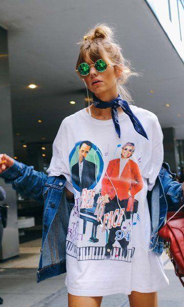 Camisetão / Street Style / jaqueta / lenço / óculos espelhado
