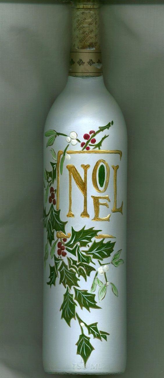 Botella decorada para navidad botellas pinterest navidad - Botellas decoradas navidenas ...