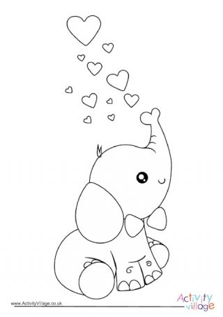 Valentine S Day Elephant Colouring Page Elephant Coloring Page Elephant Applique Cute Coloring Pages