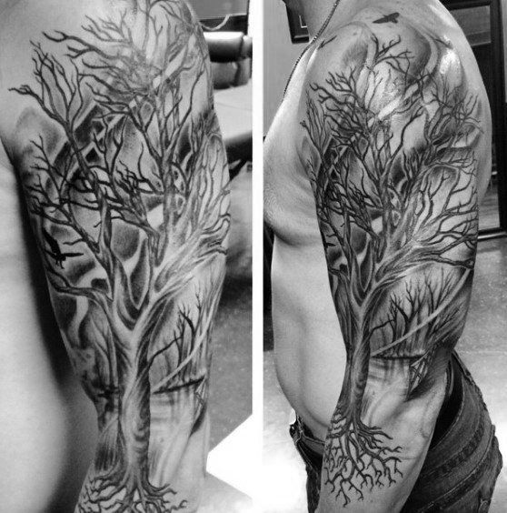 Tree Sleeve Tattoo For Men With Roots Tree Sleeve Tattoo Tree Tattoo Men Tattoo Designs Men