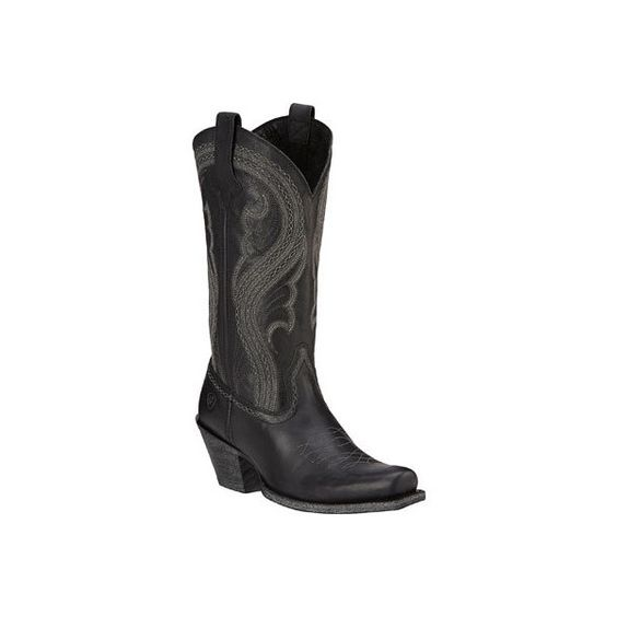 Women's Ariat Lively Cowgirl Boot - Pitch Black Full Grain Leather... ($190) ❤ liked on Polyvore featuring shoes, boots, black, casual, cowboy boots, black western boots, black square toe boots, cowgirl boots and black boots
