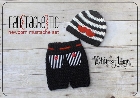 Bigote recién sombrero y pantalones cortos por whimsylaneboutique