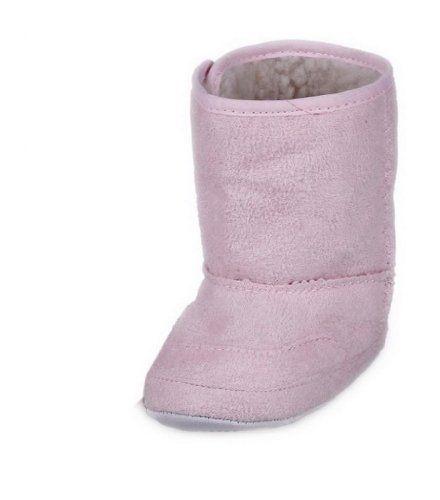 EOZY Invierno Caliente Largo Bota Zapatos De Bebé Infantil Para Nieve Con Velcro Cuero Rosa 12cm