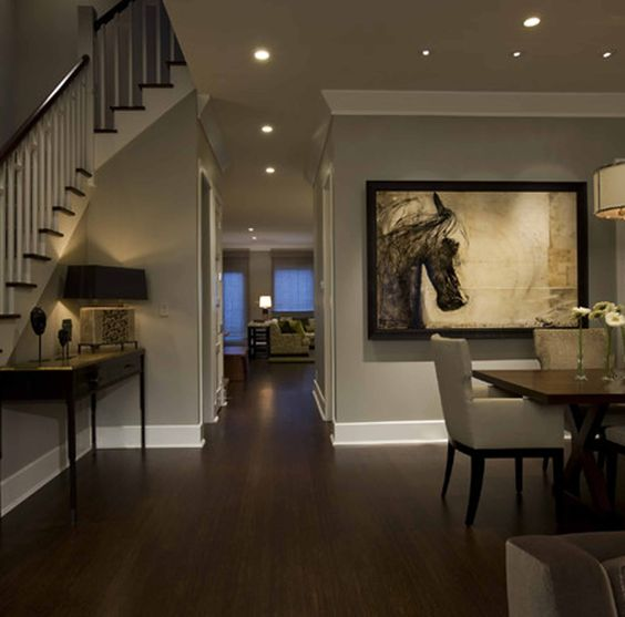 Gray wall paints traditional dining rooms and gray walls for Dining room flooring