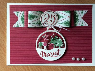 My card for the Splitcoast Stampers Creative Design Crew - had to use DSP - Stampin Up Merry Tags and Merriest Wishes www.craftystamping.blogspot..co.uk