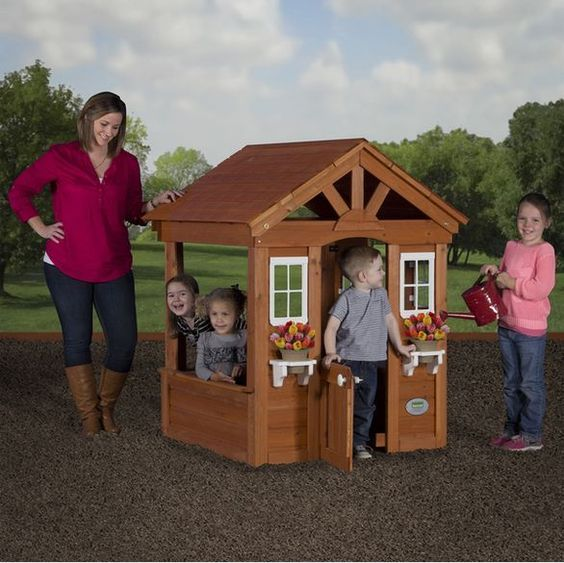 Outdoor Play Columbus  Cedar Outdoor Kids Play House Fort Hideout Backyard Back Yard Kitchen Wood Home