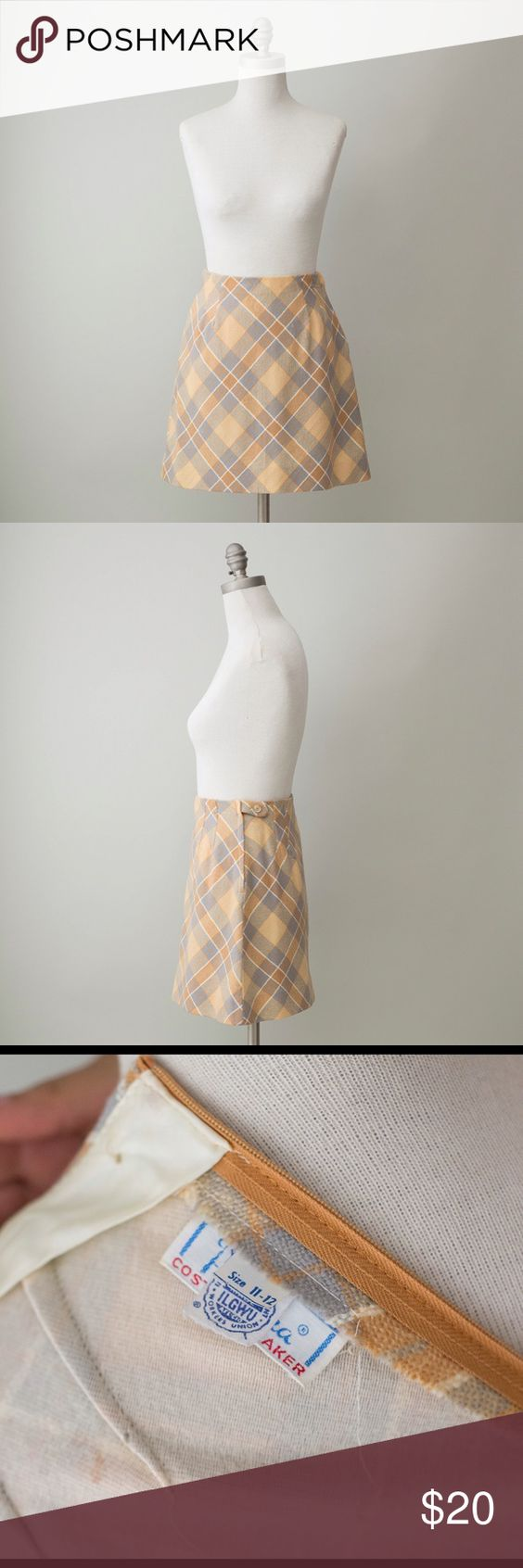 Vintage A-Line Plaid Mini Skirt Vintage Plaid mini skirt. Tag says 11/12 but vintage sizes are different than modern sizes. This fits a size 2/4. Skirts A-Line or Full