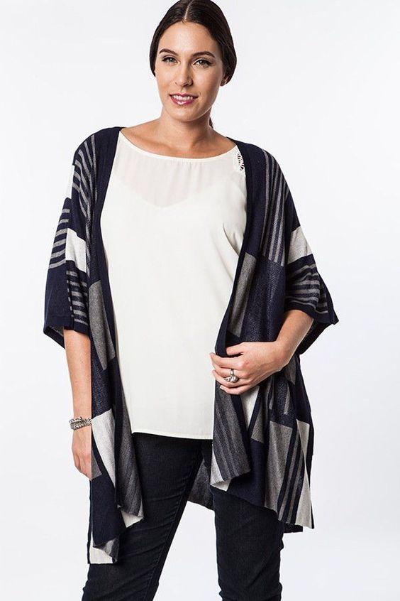 Graphic Knit Kimono Cardigan - Midnight Navy