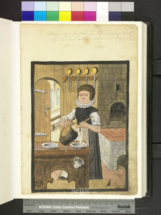 From: Die Hausbucher der Nurnberger Zwolfbruderstiftungen  The chef is in her kitchen and pours from a large jug soup in a deep tin plate, which is available along with a second plate on the table. Stove and fireplace are cold, stuck in wall shelf four pans. The view through the door is the dining room of the Mendelian twelve brothers house. 1628-29: