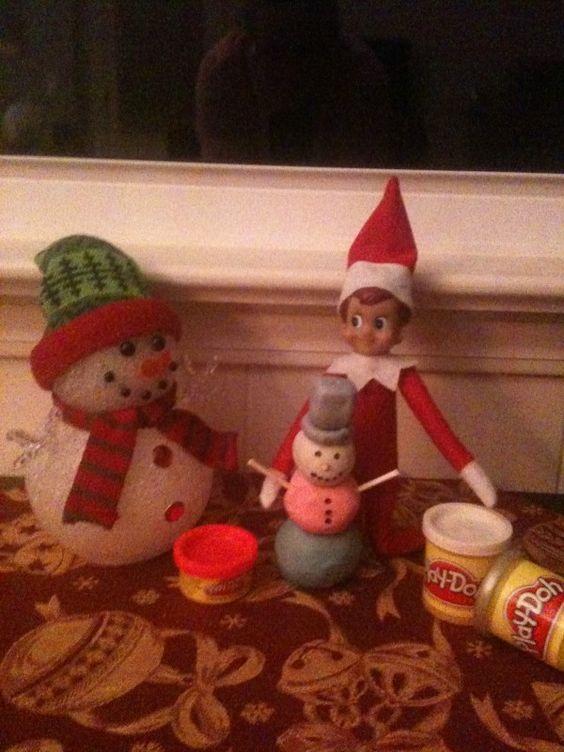 Building a snowman out of Playdough