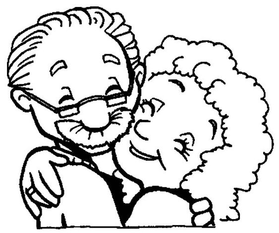 Grandmother And Grandfather Love Each Other Coloring Pages : Color Luna