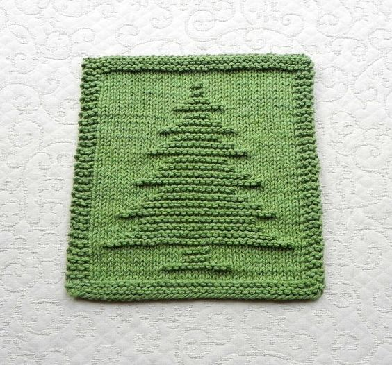 Cotton Dishcloth Knitting Patterns : CHRISTMAS TREE Knit Dishcloth. Hand Knitted Unique Design Sage Green 100% Cot...