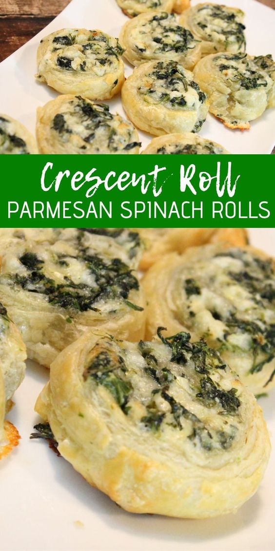 Crescent Roll Parmesan Spinach Rolls! These are SO easy and SO good! The perfect appetizer Party Recipe! #passion4savings #spinach #pinwheels #party #recipe