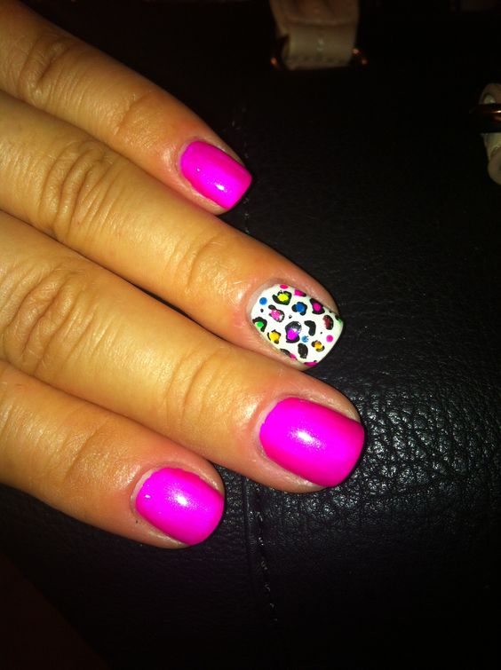 My nails: IBD gel polish in Plum Crazy (love), Gelish in white with stamp leopard print, finished with neon acrylic paint accents.