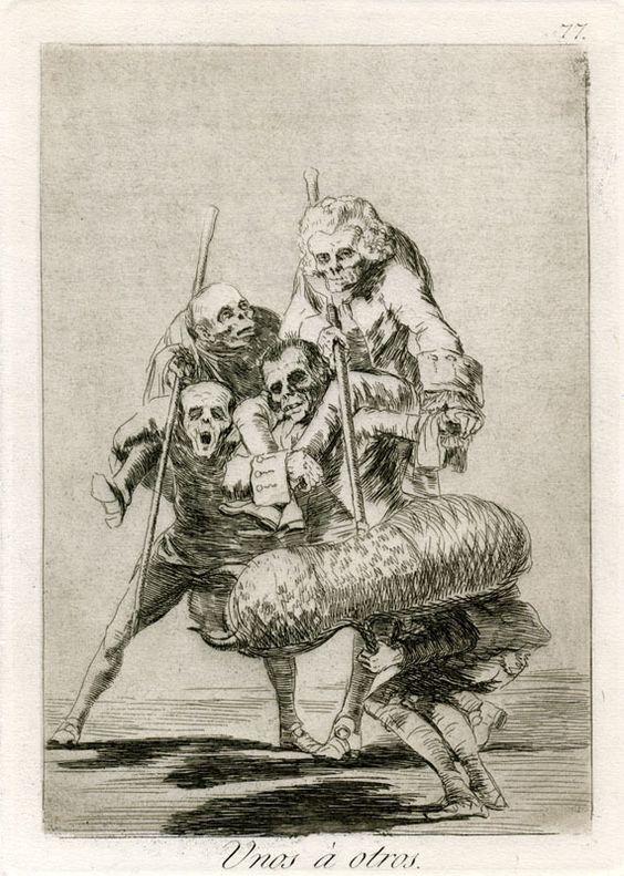 Goya - Unos á otros , de la serie Los Caprichos 1799