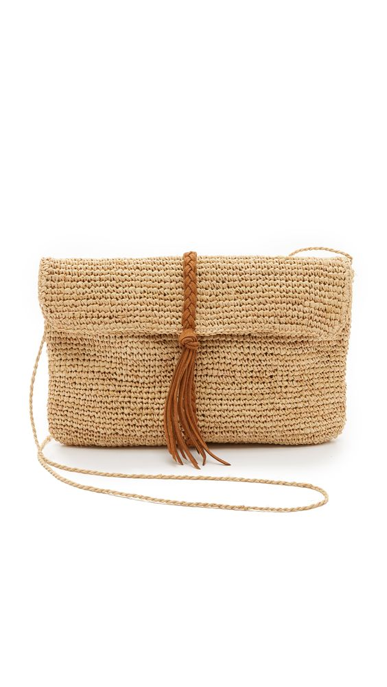 Raffia Clutch with Braid: