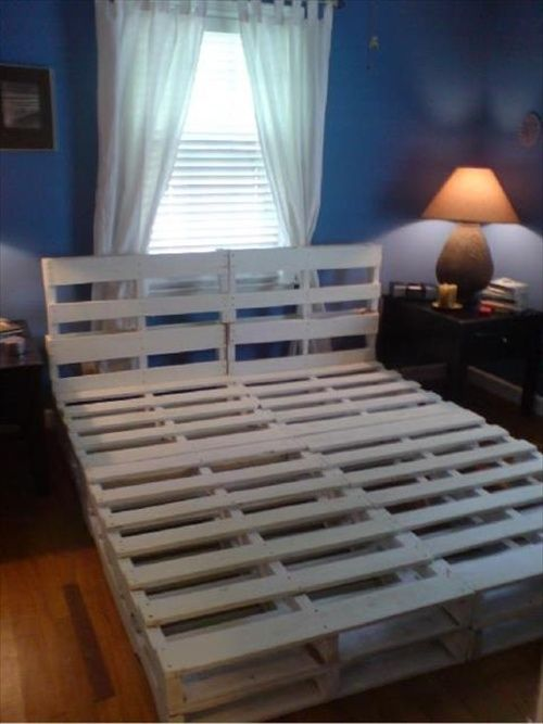 using wood pallets make a bed frame just sand the