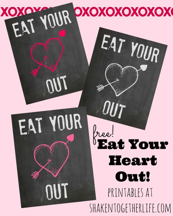 Eat Your Heart Out Printables - add to a party pouch, tie on a Valentine treat or print for a lunchbox love note!