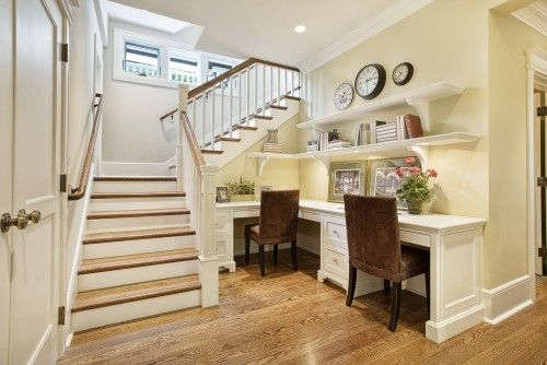 If you have space at the base of your stairs, perhaps an office space could be created.: Office Ideas, Basement Office, Idea Desks, Office Spaces, Basement Stairs, Stairs Space, Desk Staircase