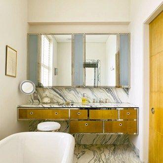 cipollino marble floor & work surfaces & splash back + art-deco style cabinets | via Brilliant Bathrooms ~ Cityhaüs Design