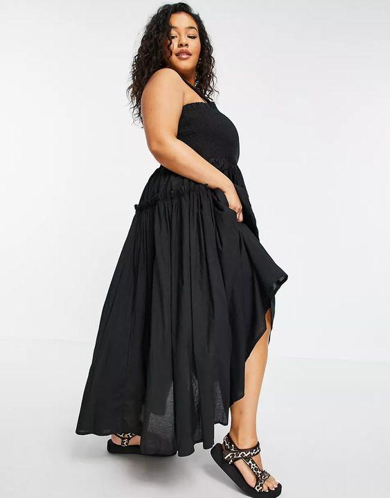 ASOS DESIGN Curve shirred cami midi sundress with raw edges in black