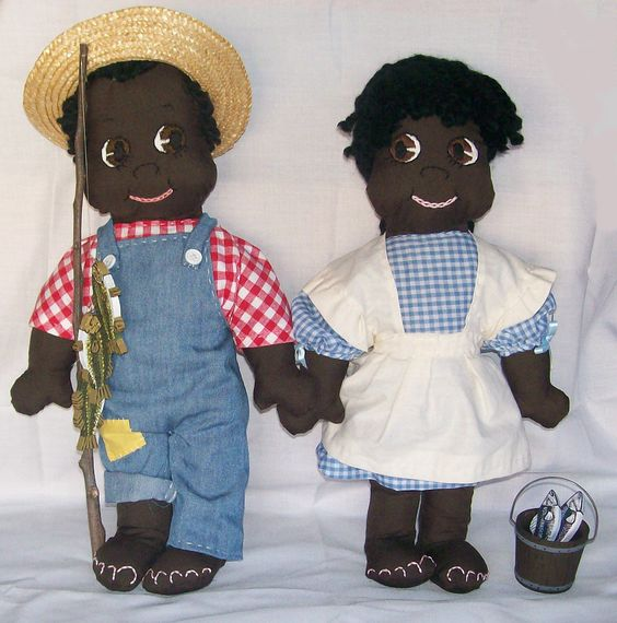 Pair of Black Americana Boy and Girl Cloth Dolls: Gone Fishing.