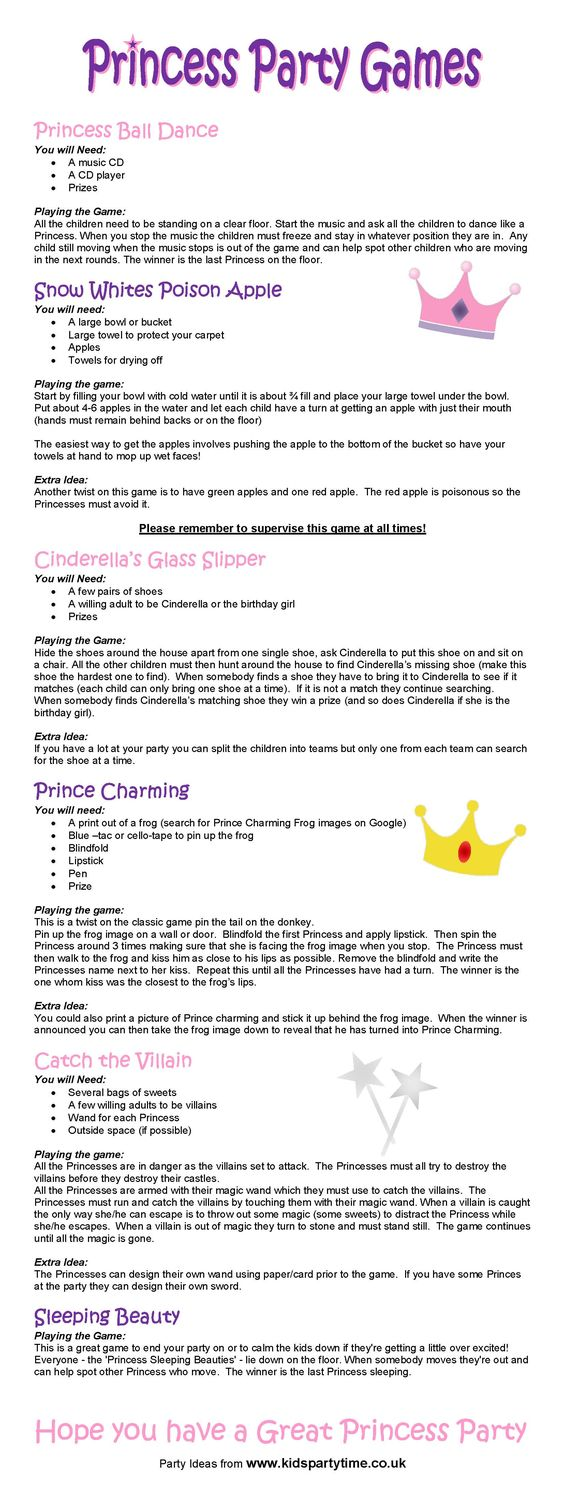 Princess Party Game Ideas: