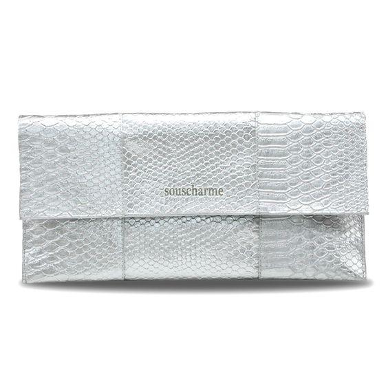 pochette soir e en simili cuir argent sac pochette femme pas cher sac main chic sacs. Black Bedroom Furniture Sets. Home Design Ideas