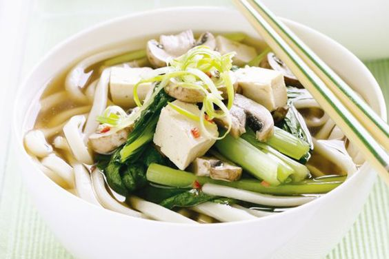 Spicy mushroom and choy sum udon noodle soup | Recipe | Udon Noodle ...
