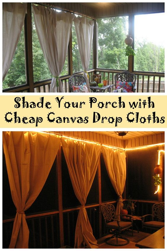 bring some shade to your porch with cheap canvas drop cloths decking cheap canvases and. Black Bedroom Furniture Sets. Home Design Ideas