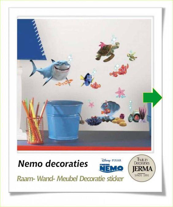 Elegant Wandstickers Meubeldecoratie Nemo decoratie stickers kinderkamer plakkers raamstickers met vissen