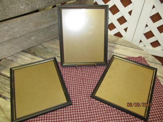 Vintage lot of 3 Black Metal Picture Frames - 8 x 10 Document Frames Black with Gold Accent by EvenTheKitchenSinkOH on Etsy