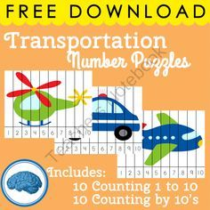 Transportation Theme : 20 Number Puzzles | Counting to 10 / Counting to 100 from Selma Dawani on TeachersNotebook.com -  (22 pages)  - WHAT!! This is Free???  Yes it is!! Enjoy!!  A great way for children to practice ordering numbers & they are self correcting!  There are 20 number puzzles included in the download:  10 puzzles from 1-10 10 puzzle from 10-100 counting by 10s Print on