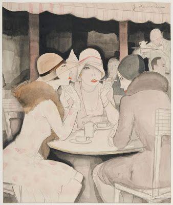 """At Kranzler's, Berlin"" - Jeanne Mammen - 1929."