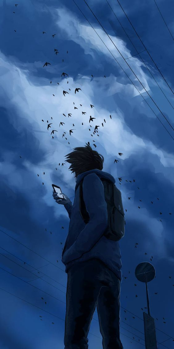 Boy Looking At The Sky Anime Scenery Scenery Wallpaper Anime Scenery Wallpaper Lonely anime boy wallpaper iphone