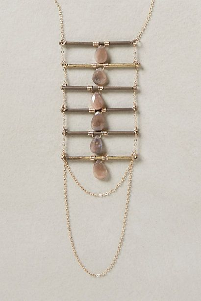 "Lurra Ladder Necklace: feldspar, brass, 14k goldfill; 35"" L, 6"" pendant; handmade in Puerto Rico - anthropologie.com"