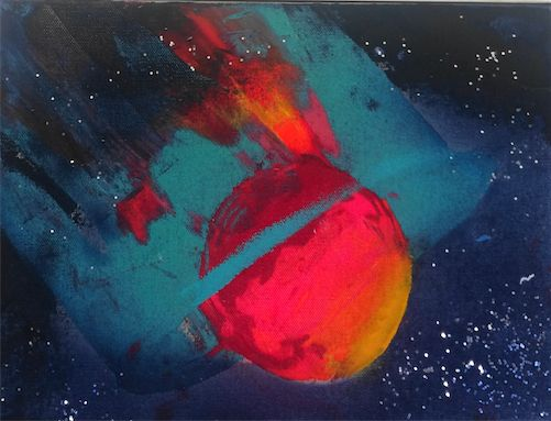 Name: SATURNO/SATURN. By Juan Mario Acevedo. 2015. Acrylic on canvas. 20 cm x 27.5 cm. Info about price: email.
