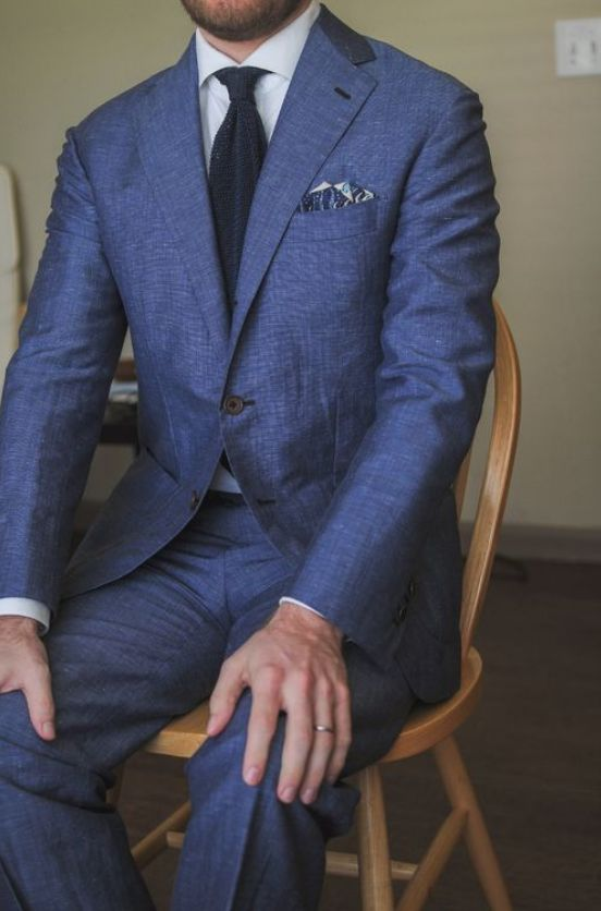 This all blue suit is fashionable, modern, & looks fantastic. This