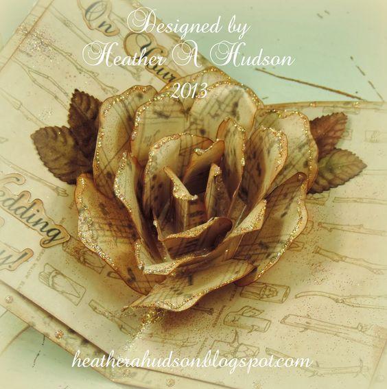 Heather A Hudson: Romantic Vintage Wedding Rose Pop Up Card