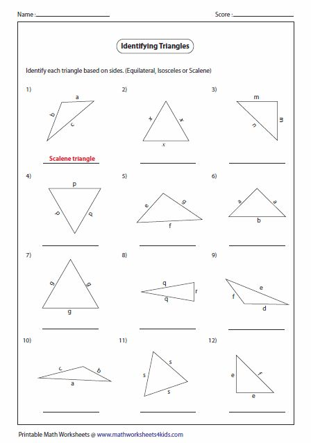 math worksheet : triangle classification based on sides  math measurement geometry  : Math Triangle Worksheets