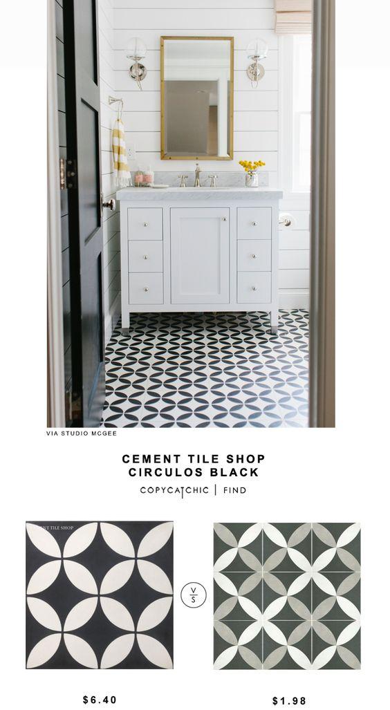 Cement Tile Shop Circulos Black Tile shiplap mirror cement tile white and black