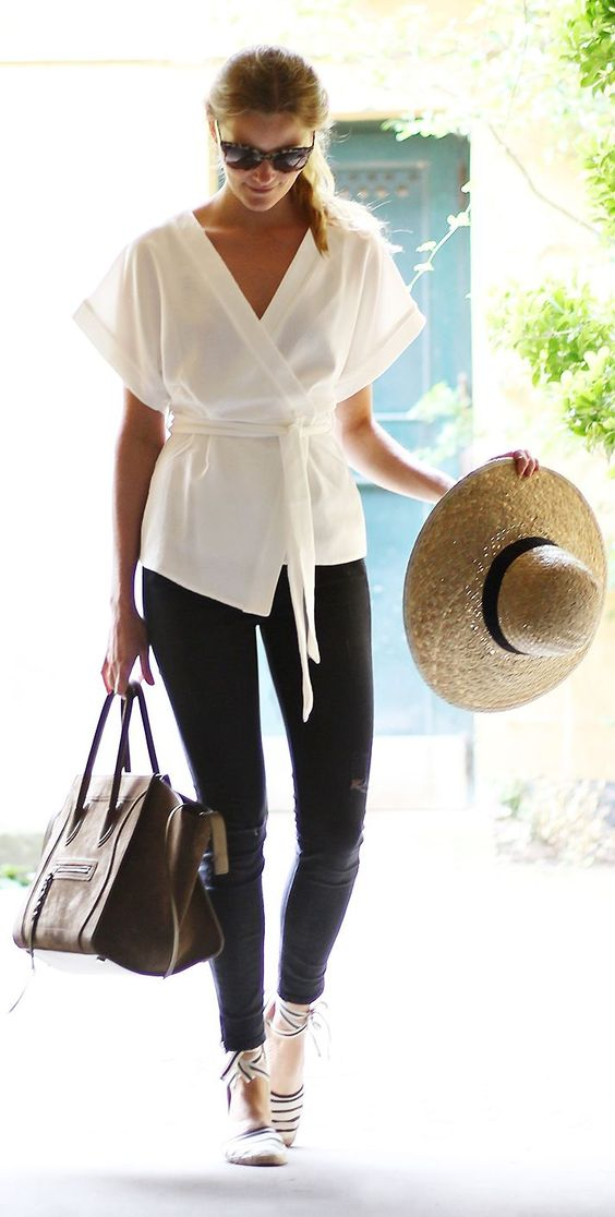 White Kimono | Black Skinnies | Striped Espadrilles ... and I have the shoes! super score :):