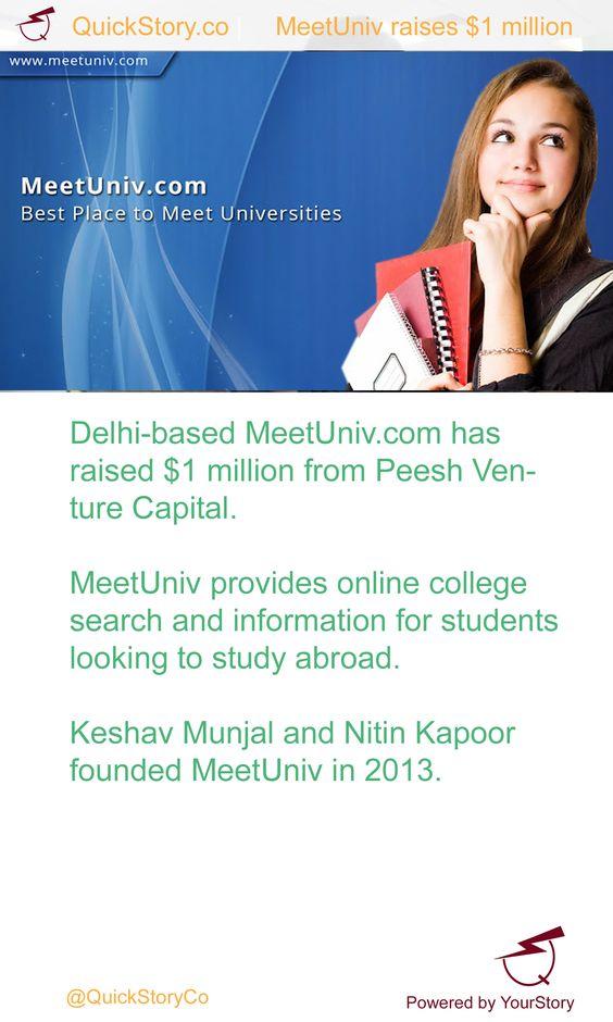 In May 2015, MeetUniv.com has raised $1 million from Peesh Venture Capital