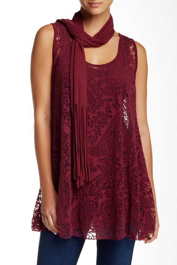 Lace Tank with Scarf by Luma on @HauteLook