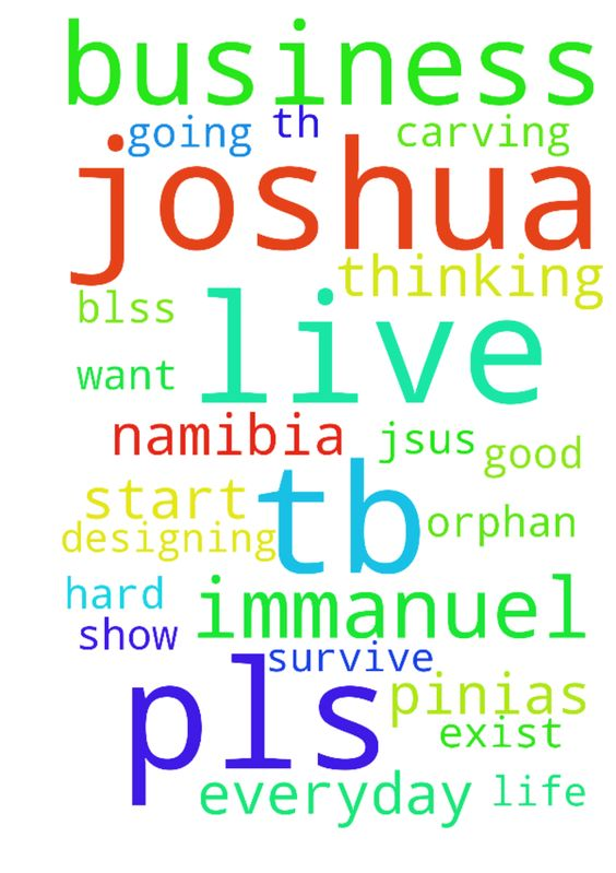 Immanuel my name is Pinias I live in Namibia I have - Immanuel my name is Pinias I live in Namibia I have a talent of designing, drawing, carving and painting Im an orphan god of TB Joshua u can hear my prayers now I want to start my business but no funds or good job to help to start my business Im everyday thinking of creating business of my to survive and hard work and help others and Im everyday thinking to have a woman in my life who Im going to mrry and live wth 4ever pls I beg u lord…