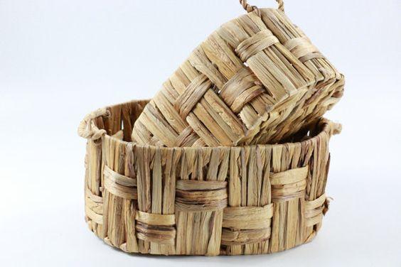 Vintage braided baskets/Storage Basket /Utility Basket/ straw basket/Ikea/muji/Country decor/Valentines Day/wedding gift